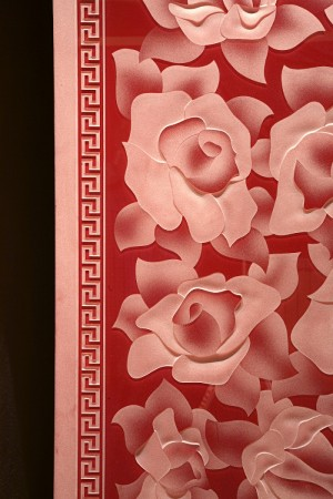 Sandblasting floral background with red - sliding door