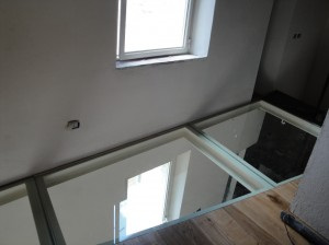 Portions of glass floor on the first floor