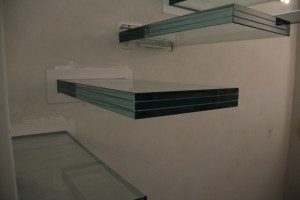 Construction of glass staircase, inside the offices of the notary Cariello